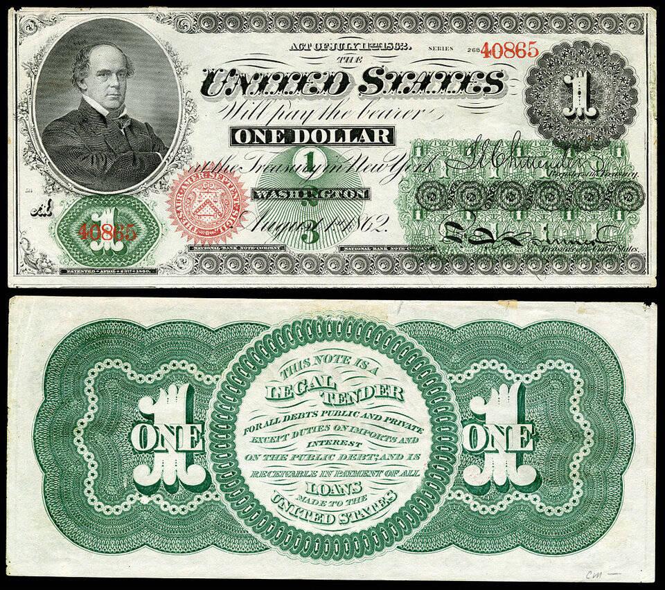 A primeira nota de 1 dólar foi emitida em 1862