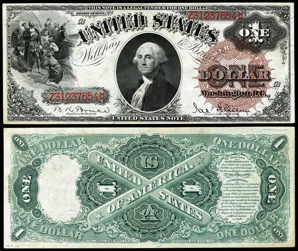 US $ 1 por volta de 1880.