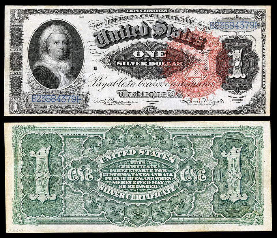 Martha Washington apareceu no certificado de prata de $ 1 em 1886