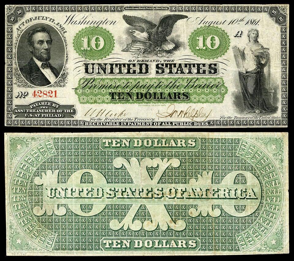 O primeiro papel-moeda dos EUA foi amplamente emitido em 1861.