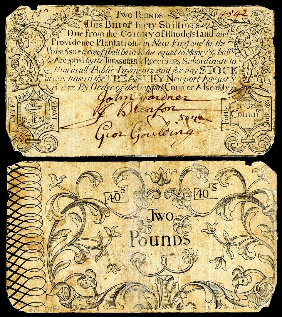 Moeda de papel colonial da colônia de Rhode Island cerca de 1737.
