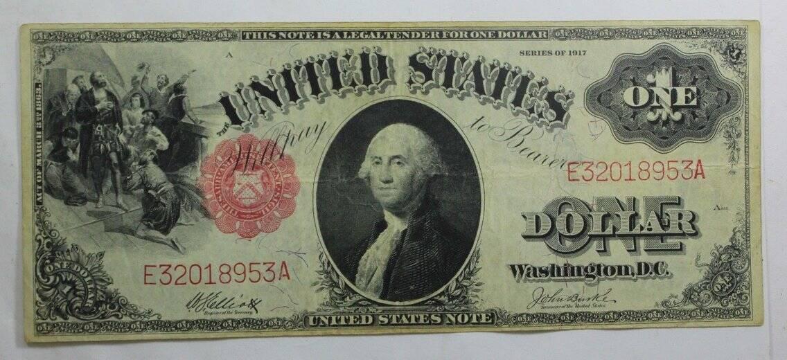 Uma nota de US $ 1 por volta de 1917