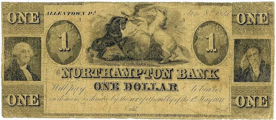 US $ 1 emitida pelo Northampton Bank em Allentown, Pensilvânia, por volta de 1841