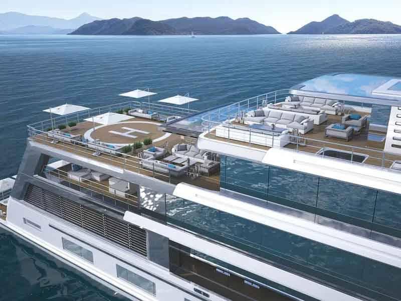 Ele também pode armazenar uma limusine, quatro jet skis e dois submarinos Triton, que podem ser lançados a partir do iate.