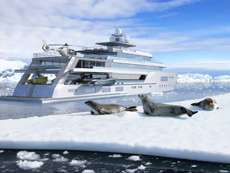 A Gill Schmid Design criou um conceito de super iate híbrido que pode viajar por terrenos congelados.