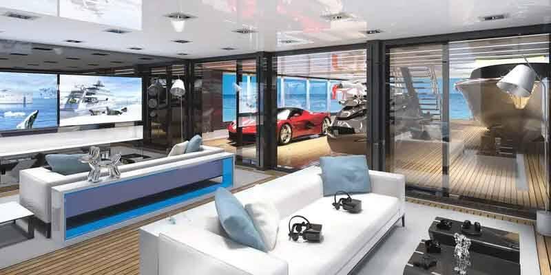 Ele inclui uma garagem totalmente fechada que também pode servir como espaço para festas.