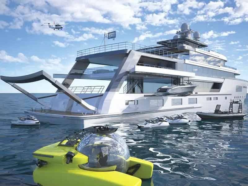 O barco tem um acabamento em dois tons de prata e branco perolado. A prata indica áreas operacionais, enquanto o branco indica áreas do iate para hóspedes e entretenimento.