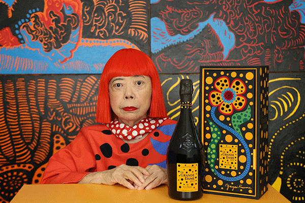 Artista japonesa Yayoi Kusama reinterpreta champanhe da Veuve Clicquot