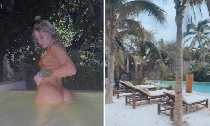 Luísa Sonza posta foto em piscina de hotel de luxo no México