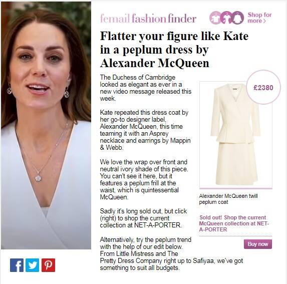 Recorte que mostra o preço do vestido esolhido pela duquesa. Imagem: Reprodução/FemaileFashionFinder