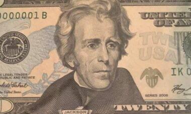Nota de vinte dólares com número de série exclusiva. Imagens: Reprodução/Reddit
