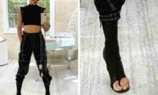 Adriana Lima com look urbano e 'bota de dedo'. Foto: Reprodução/Instagram