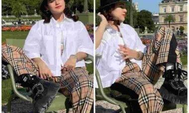 Maisa posa em Paris com bota Miu Miu. Fotos: Reprodução/Instagram