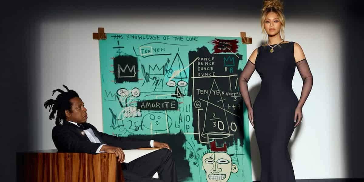 Polêmica do quadro de Basquiat em propaganda da Tiffany, estrelada por Beyoncé e Jay-Z. Foto: Divulgação/ Tiffany & Co.