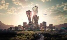 Projeto de cidade bilionária para ser construída no deserto americano. Crédito: Bjarke Ingels Group and Bucharest studio