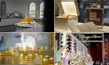 Exposição de perfumes da Chanel. Foto: Reprodução/Twitter