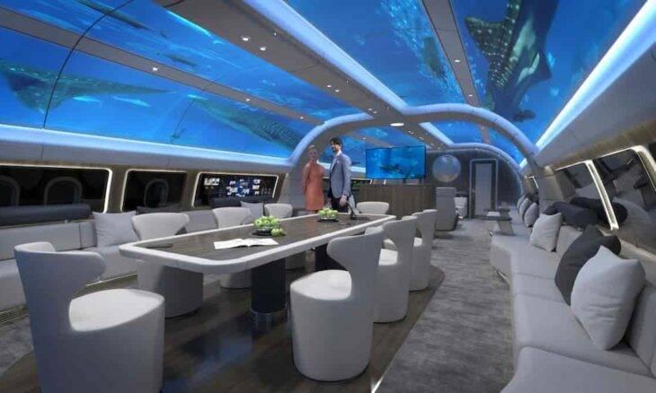 Jato particular com cabine subaquática. Fotos: Divulgação/ Lufthansa Technik AG