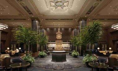 Uma representação do saguão do Waldorf Astoria restaurado com seu famoso relógio do século 19. Fotos: Divulgação/ Waldorf Astoria Nova York